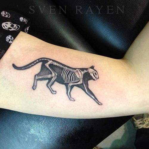Cat skeleton tattoo - oh my god this is such a fantastic idea and done so well, too!