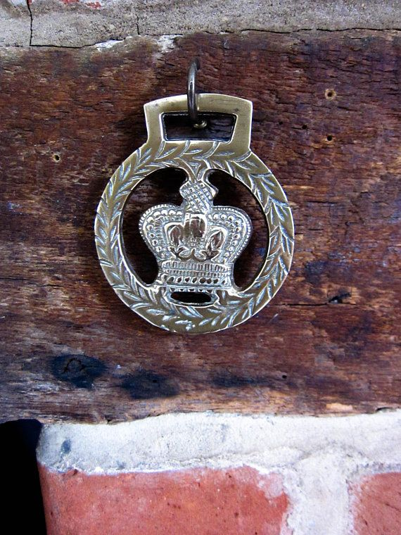 Horse brass crown vintage horse brass English Shire horse