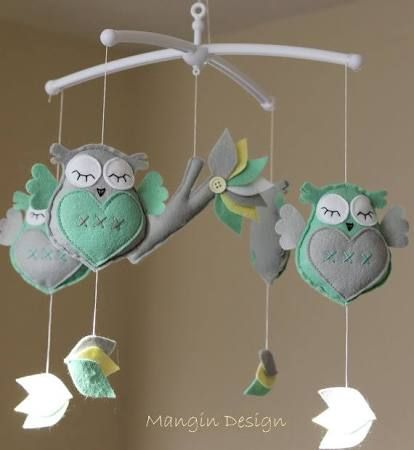 Gorgeous owl cot/crib mobile owl musical mobile felt owl mint grey lullaby felt owl mobile decorations nursery decor music mobile  from Etsy - Seller  Musical