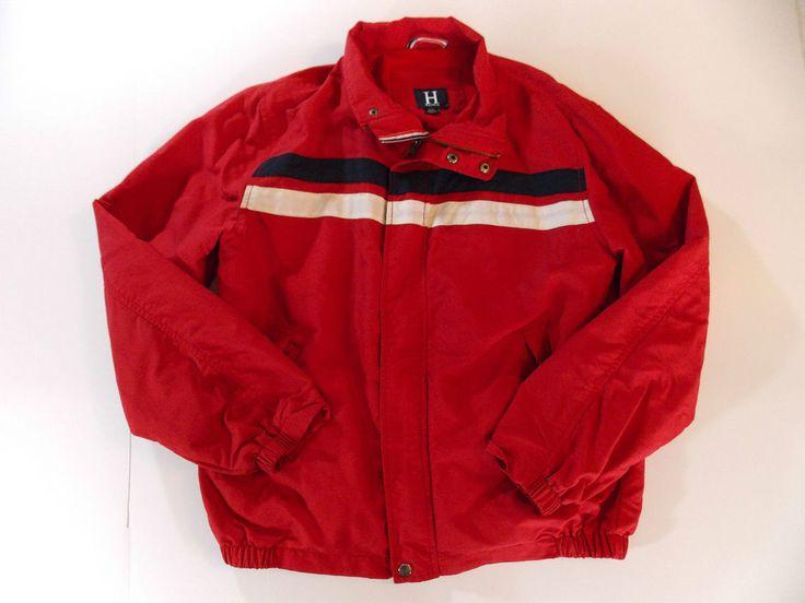 Tommy Hilfiger Jacket H Brand Red Size Large Full Zip  #TommyHilfiger #BasicJacket