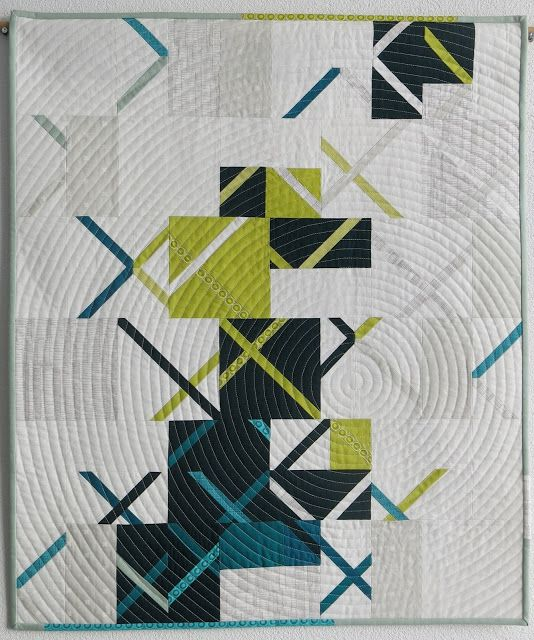 Luna Lovequilts - Vinyle, a finished quilt inspired by Debbie's Crosscut tutorial