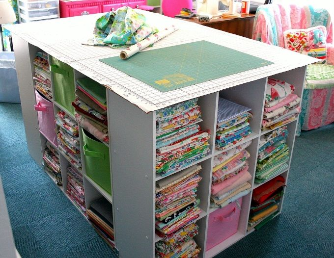 Fabric storage cutting and craft table diy pinterest for Fabric storage