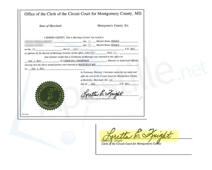 County of Montgomery State Of Maryland certificate of Marriage - sample marriage certificate