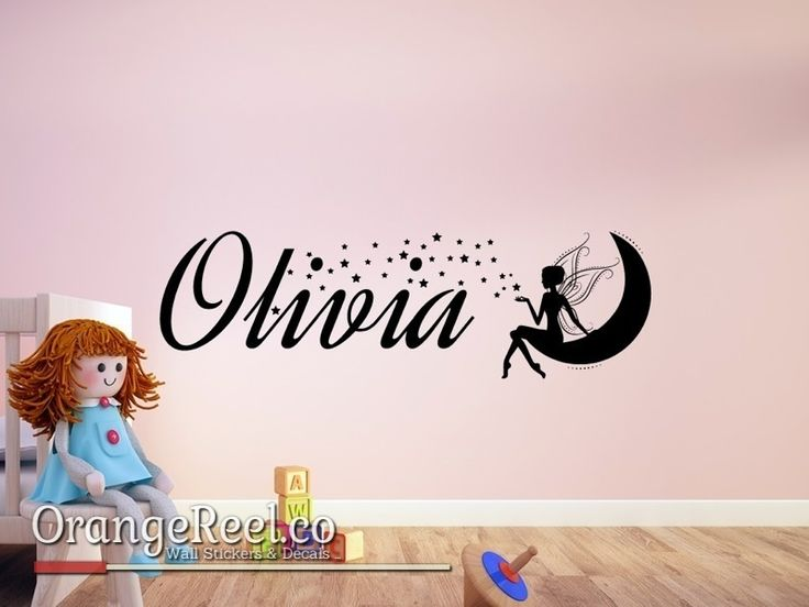 This magical design features your child's name surrounded by stars, coming from a fairy sat in the moon.  Available in over 20 colours and all personalisation is free!!