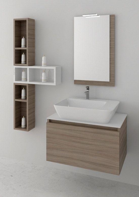 space 70cm space 07 rovere olio-bianco : Έπιπλα μπάνιου Novebagno