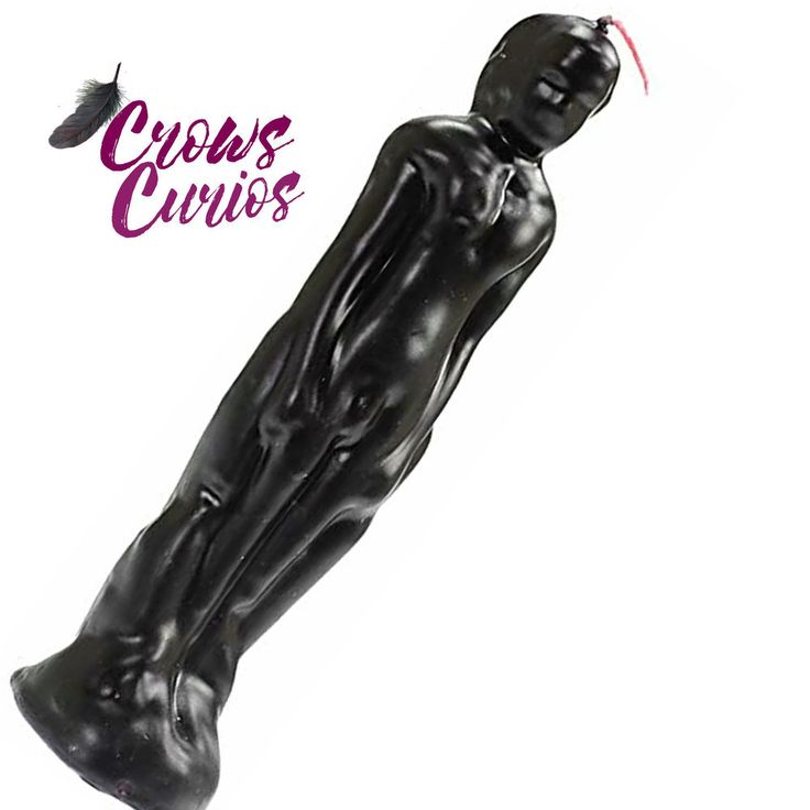 REVERSING MALE MAN BOY FIGURAL CANDLE Black Red Wicca Pagan Witch Ritual Spells