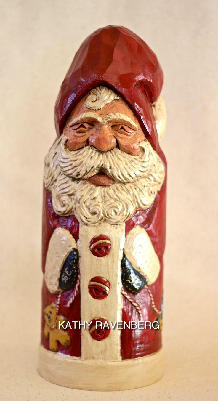 Kathy Ravenberg  Artist  Hand Carved Santa Christmas Woodchristmas  Ornamentsxmascarving