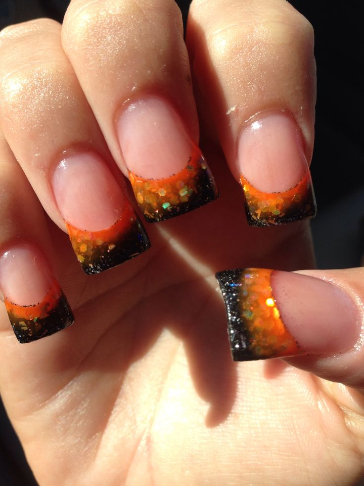 Halloween nails orange and black | Halloween nails, Nails ...