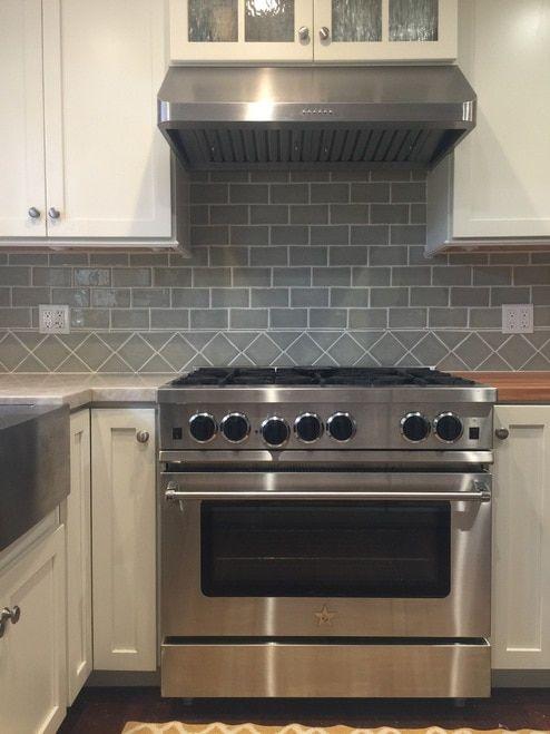 Classic Cottage Kitchen with Handmade Subway Tile & 4×4″ Decorative Border
