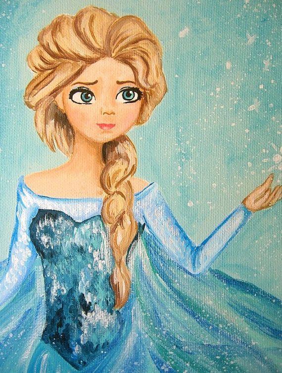 Frozen Queen Elsa Princess Art Work Painting On 8x10