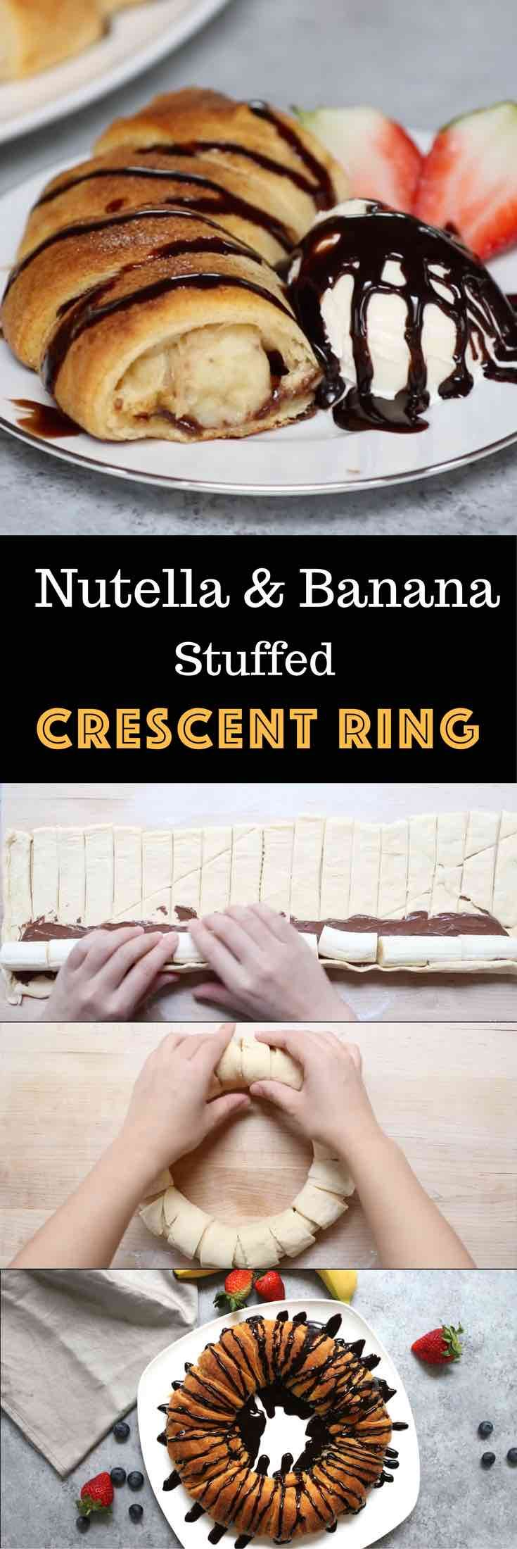 This beautiful Nutella And Banana Stuffed Crescent Rolls Ring will be everyone's favorite dessert choice. Stuff a crescent roll with Nutella and banana, then sprinkle cinnamon sugar, and bake! Drizzle with chocolate and serve with ice cream. Perfect for brunch as well. So good! Quick and easy recipe. Video recipe. | Tipbuzz.com
