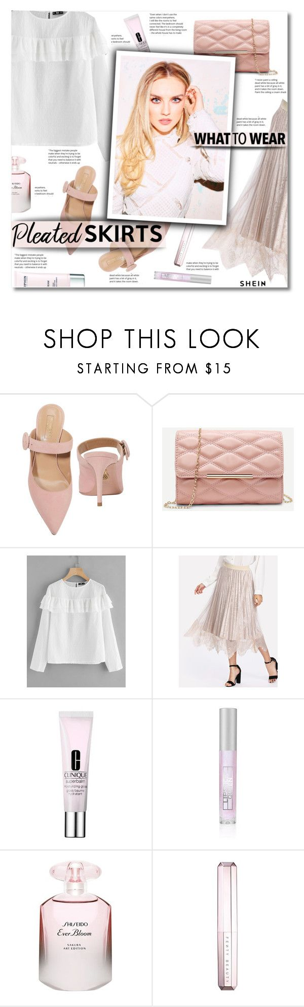 """Pleated skirt"" by smajlovicelvira ❤ liked on Polyvore featuring Aquazzura, COVERGIRL, Clinique, Lipstick Queen, Shiseido, Sephora Collection and Darphin"