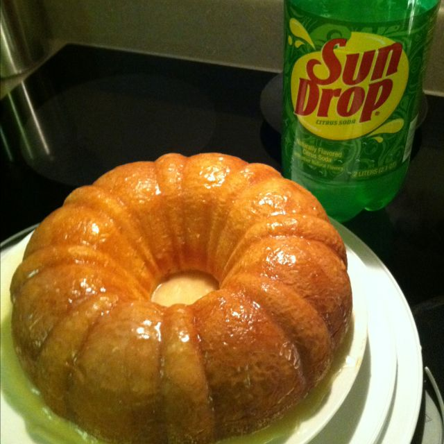 SunDrop Cake  Ingredients  Cake - 1 box of lemon cake mix, 1 small package of instant lemon pudding, 12 oz. of SunDrop, 3 eggs, 3/4 cup oil  Glaze -1 cup powdered sugar, 2 tbs. water, 1 tsp. vanilla  Instructions:  Preheat Oven to 375. Combine cake mix, pudding, SunDrop, eggs & oil. Beat with a mixer until well blended. Pour into greased & floured bundt pan. Bake for 30 minutes or until done.    Glaze: Mix powdered sugar, water & vanilla. Pour over cake while warm after out of the pan…