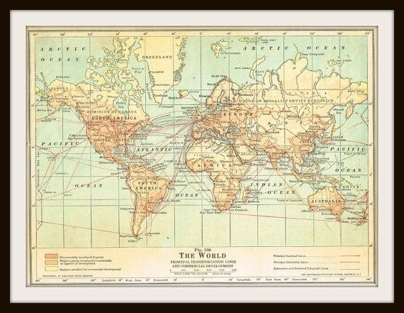 Antique WORLD Map - 1940 by KnickofTime | printable | Antique world ...