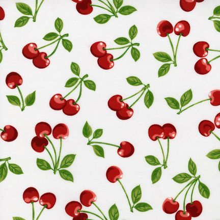 CHERRIES ~ Red Fruit Basket Cherries Everywhere on WHITE