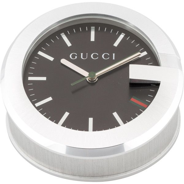 Pre-owned Gucci 210 Desk Clock (1.145 RON) ❤ liked on Polyvore featuring home, home decor, clocks, silver, black mantle clock, black clock, black home decor, black mantel clock and gucci