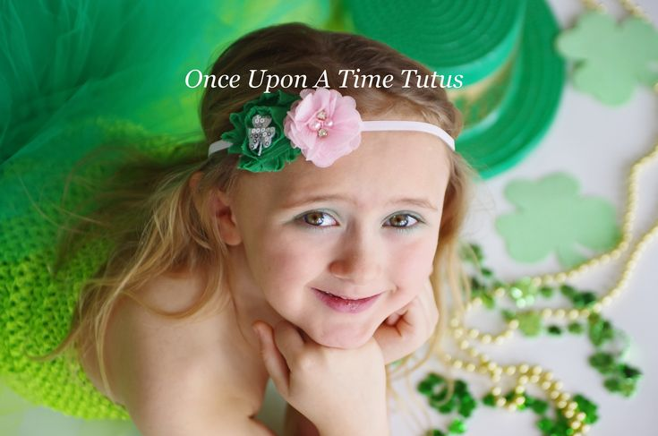 Pink Shamrock Flower Headband - St. Saint Patricks Day Hairbow - 3 Leaf Clover Hair Bow - Light Pink Emerald Kelly Green Silver Accessories by OnceUponATimeTuTus on Etsy