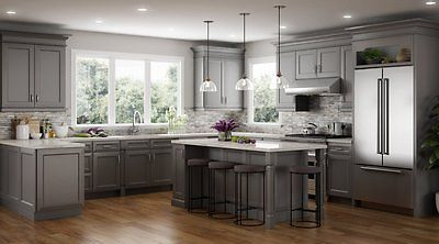 All Wood RTA 10X10 Transitional & Classic Kitchen Cabinets in Victoria Dove Gray