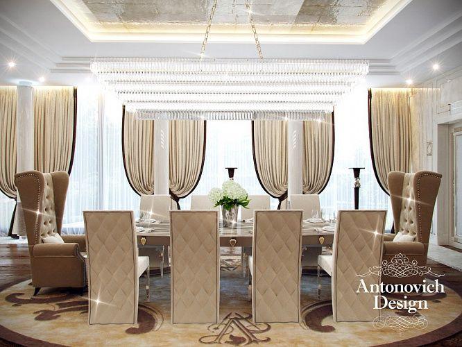 Дизайн гостиной. В гостиной разместилось большое количество элегантной и комфортной мягкой мебели, подчеркивающей гостеприимность и радушие владельцев дома.