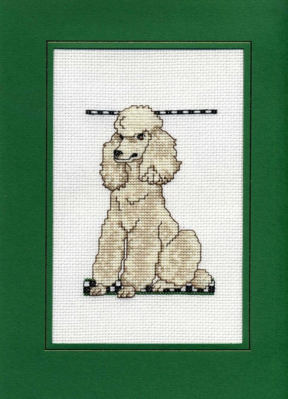 Poodle Cross Stitch Card by DeLaMerCrossStitch on Etsy, £5.42