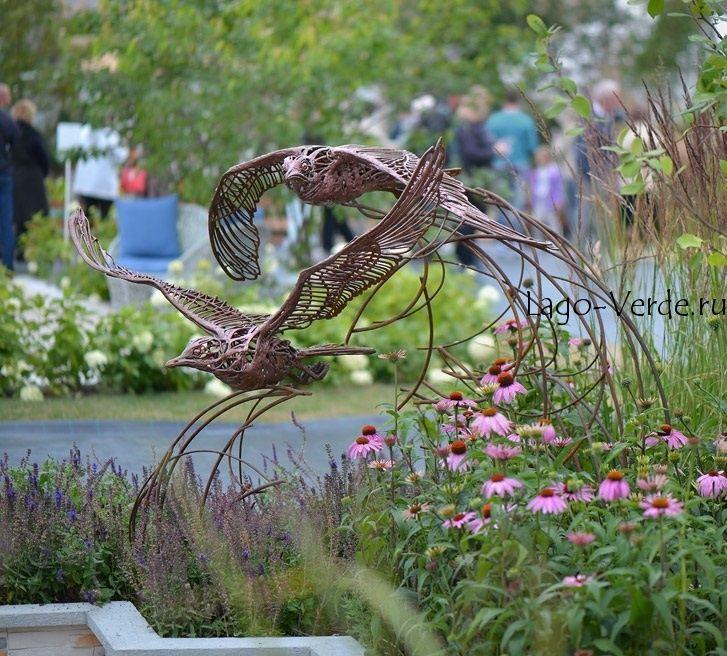 Садовая скульптура птиц из проволоки - элитная современная скульптура для сада и интерьера: купить в интернет-магазине Lago Verde
