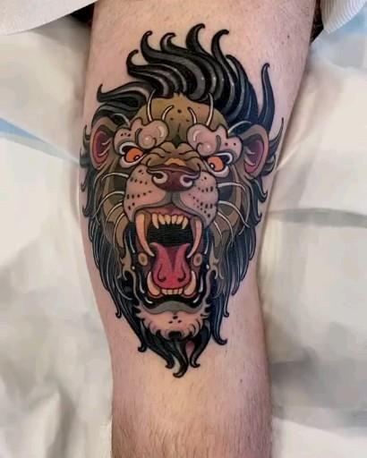 Chicanas Tattoo, Knee Tattoo, Lion Tattoo, Tattoos, Australian Tattoo, Wild Lion, Cat Tattoo Designs, Neo Traditional Tattoo, Australian Artists
