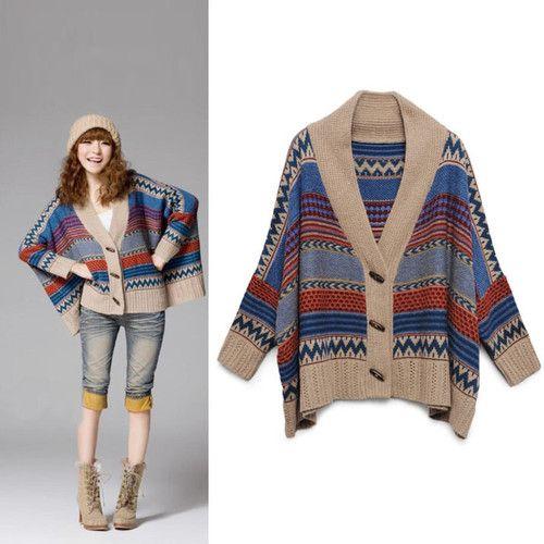 Ladies Poncho Toggle Navajo Sweater Batwing Cardigan Chunky Knit Oversize Coat