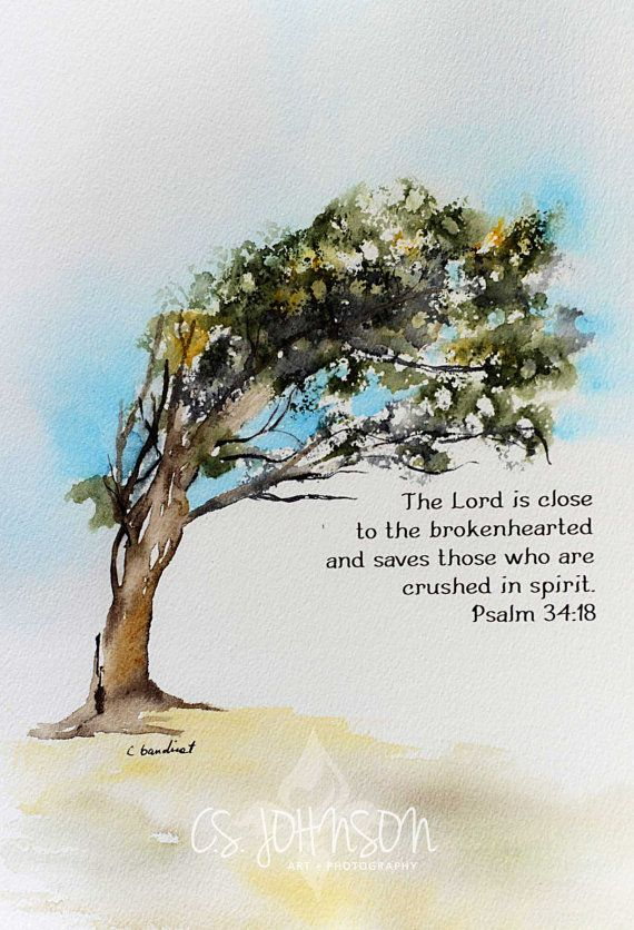 Original watercolor painting of bending tree with Bible ...