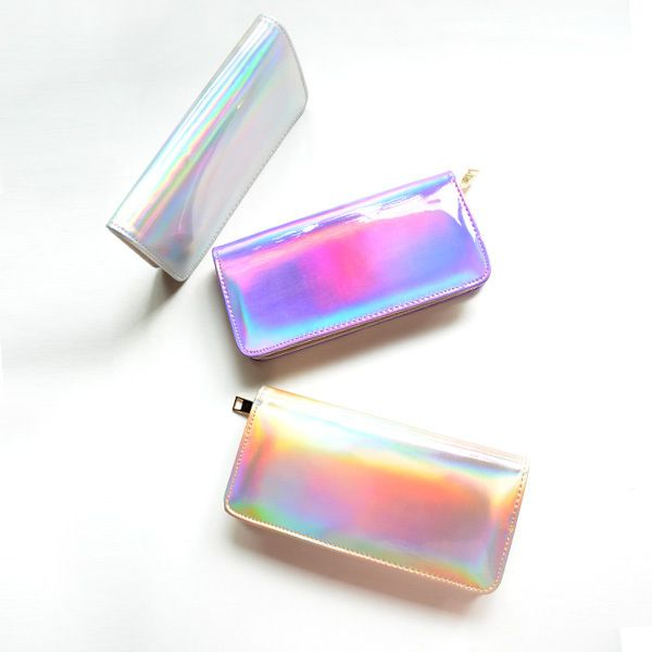 2015 Fashion PU Hologram Wallet Purse Laser Silver&Gold&Purple Make up Bag Women's Messenger Bag Mini Clutch Evening Handbag-in Wallets from Luggage & Bags on Aliexpress.com | Alibaba Group