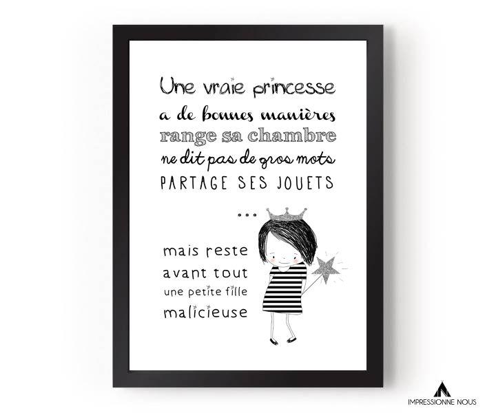"""Le produit Affiche """"une vraie princesse"""" est vendu par Impressionne nous dans notre boutique Tictail.  Tictail vous permet de créer gratuitement en ligne un shop de toute beauté sur tictail.com"""