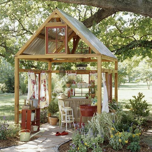 Potting Shed  Topped with a corrugated aluminum roof, the structure becomes a more substantial garden structure, suitable for potting and puttering. Because the roof can catch the wind, it's best to anchor the structure to concrete footings.