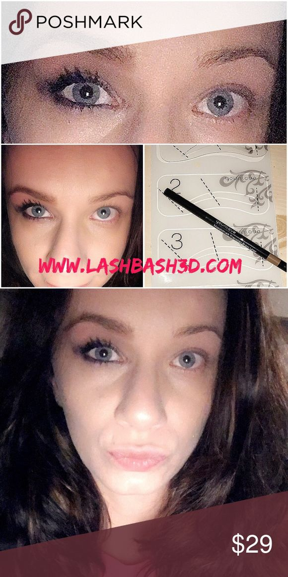 3d Fiber Lash Mascara, brow stencil, palette #3 Long full lashes Makeup Mascara
