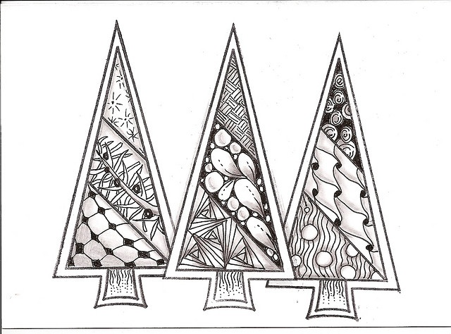 ZENTANGLE XMAS TREES by swiminink