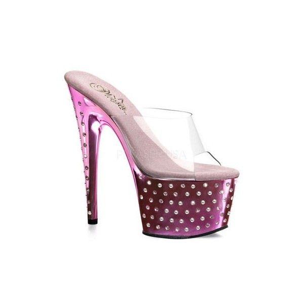 """7"""" Diamond Platform Mule (STARDUST-701) ($107) ❤ liked on Polyvore featuring shoes, platform mules, diamond shoes, diamond footwear, mule shoes and platform shoes"""