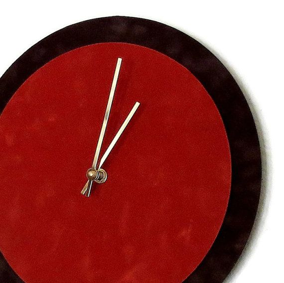 Unique Wall Clock Red and Brown Clock Home and by Shannybeebo