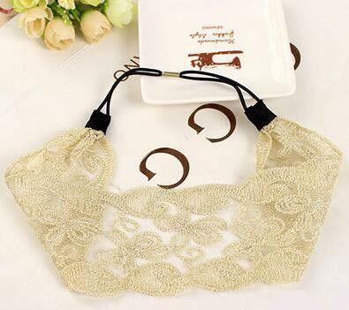 Fashion Korean Style Lace Flower Elastic Headband Hairband Hair Accessory For Women & Girls Hot Lovely Wedding Headwear