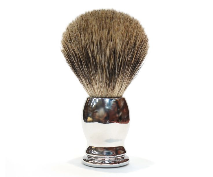 The Ice Chrome Pure Badger brush. The only mix in this brush the blend between affordability and quality. The all badger hair brush head soaks and retains water for the best lather around. Available at House of Knives.