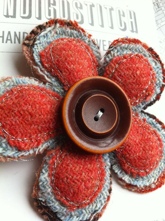 Orange Harris tweed flower brooch with vintage by indigostitch
