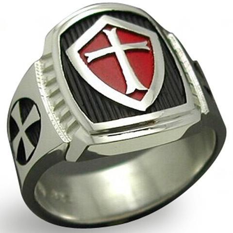 Medieval Titanium Plate Knights Templar Shield with Crusader Cross - Free Masonic Ring RING - Masonic Jewelry Free Masonic Ring - FreeMasonicRing.com