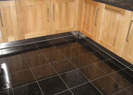 Black sparkle floor tiles craft room pinterest for Black floor tiles for kitchen