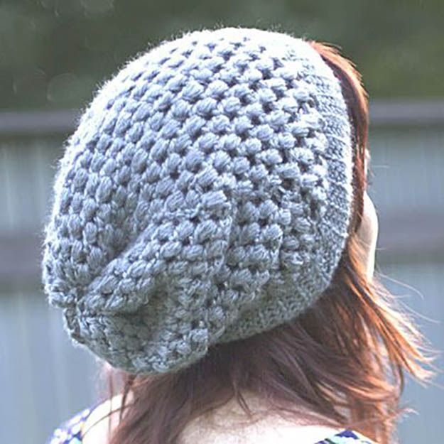 puff stick slouch beanie free crochet pattern | crochet patterns for beginners, see more at http://diyready.com/17-amazing-crochet-patterns-for-beginners