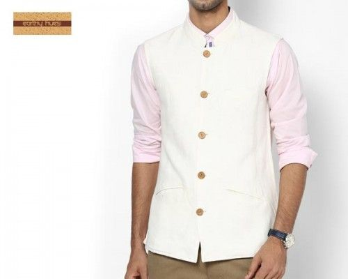 """Nehru Jacket defines """"Man of Substance"""". Earthly Hues has crafted this simple yet stylish ethnic jacket with brown coloured wooden buttons that features exquisite craftsmanship. Perfect for Indian wedding gala, Diwali and other traditional occasions. Accentuate your look by styling it with Kurta & Pyjamas, bright coloured shirts and trendy pants. Can be perfect attire for political gathering as well."""
