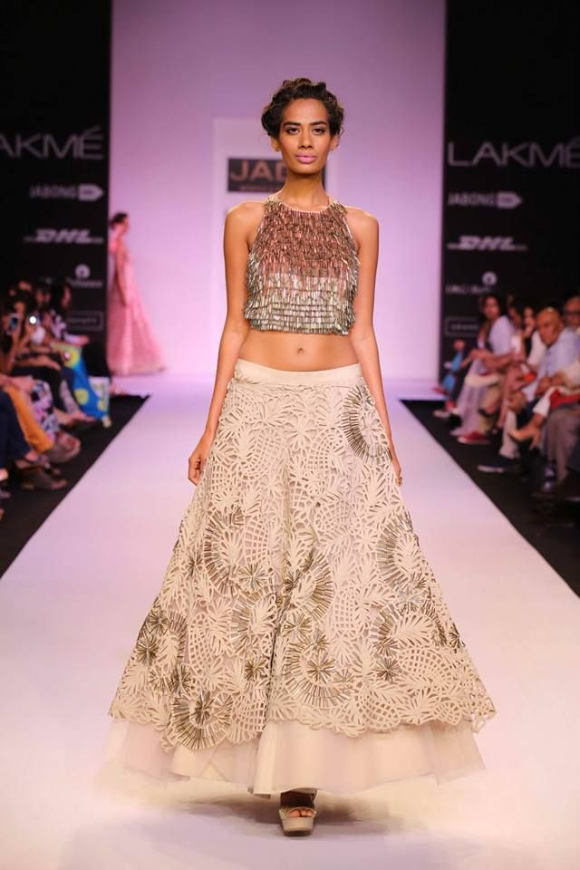 JADE by Monica and Karisma at Lakme Fashion Week Summer Resort 2014 cropped top white lehnga. More here: http://www.indianweddingsite.com/jade-monica-karishma-lakme-fashion-week-summer-resort-2014/