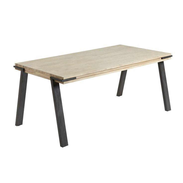 Wil jij de keuken of woonkamer en industriële look geven? Zet de Disset eettafel van LaForma dan maar bovenaan jouw verlanglijstje! Deze stoere tafel heeft een blad van prachtig, massief en gebleekt acaciahout en een stevig metalen frame.
