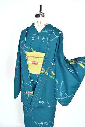 スモークターコイズにトンボ模様愛らしいウールアンサンブル - アンティーク着物・リサイクル着物のオンラインショップ 姉妹屋