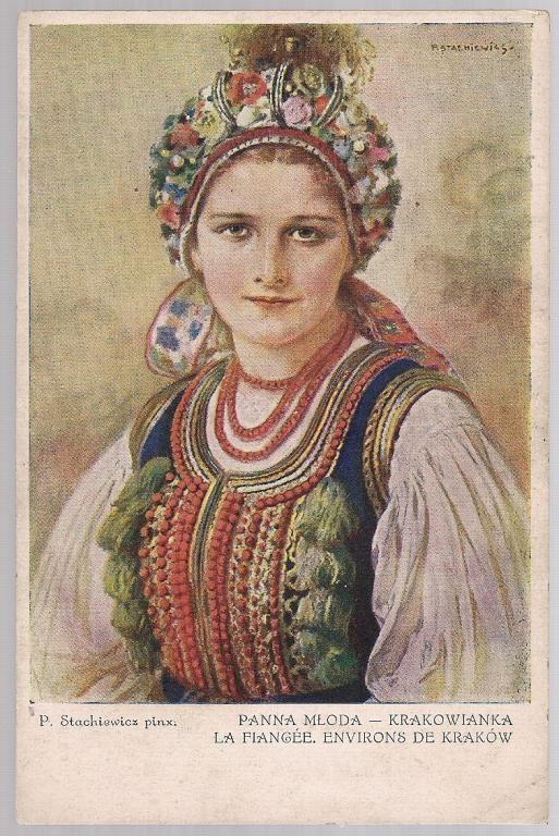 pocztówka STACHIEWICZ Panna młoda Krakowianka