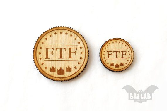 FTF Geocaching from wood Pair  Geocache prize  Engraved by BatLab