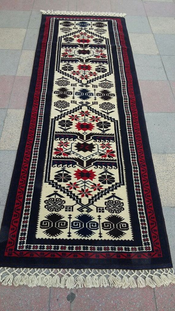 Vintage Turkish handwowen Carpet runner rug pure by pergamonpillow