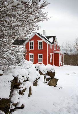 I so want to put red siding on my farmhouse!  It will coordinate with my white and red shed....though I'm thinking a deeper red, not as bright as this picture