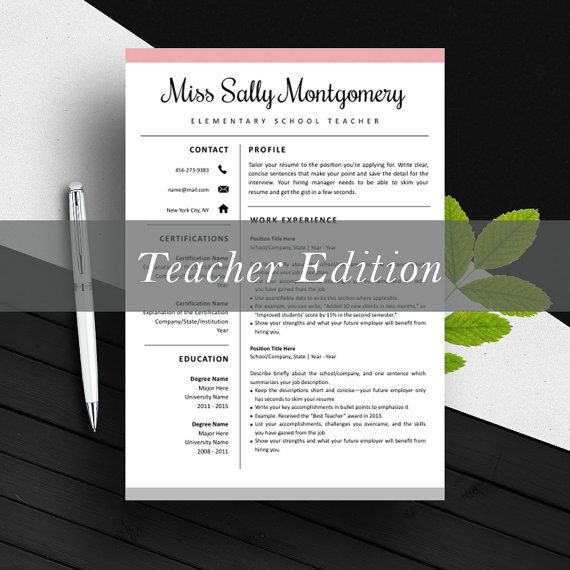 Love the soft pink accent, and the font is also very pretty :) . Teacher Resume Template | CV Template | Cover Letter | For MS Word / iWork | Instant Download | Professional Modern Resume Design | Mac / Pc